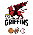 Griffin greek mythology creature sport mascot vector image