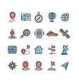 location and navigation signs color thin line icon vector image