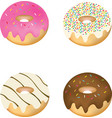 set of four decorated donuts vector image