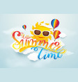 summer time banner design sun and hot air vector image