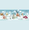 winter landscape and winter activities vector image