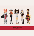 Lovely visual kei girls different hairstyles vector image
