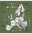 Doodle Europe map on green chalkboard with pins vector image