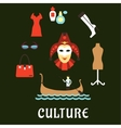 Italian culture and travel flat icons vector image vector image