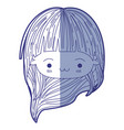 blue shading silhouette of kawaii head little girl vector image