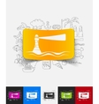 lighthouse paper sticker with hand drawn elements vector image