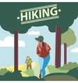 Silhouettes of tourists hiking vector image