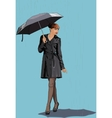 The girl with an umbrella in the rain vector image
