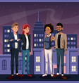 two couple young people - city at night in the vector image