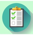 clipboard with green checklist icon flat vector image