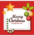 card merry christmas balls cane start design vector image