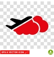 Airplane Over Clouds Eps Icon vector image