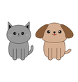 Cartoon dog and cat Mustache whisker Funny smiling vector image
