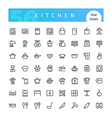 kitchen line icons set vector image