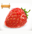 strawberry and water drops fresh fruit 3d icon vector image vector image