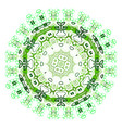 ethnic colorful ornament abstract green mandala vector image