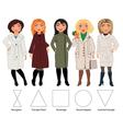 Five Figures clothes coats vector image
