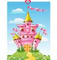 magical fairytale pink castle with flags vector image
