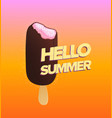 ice cream poster with hello summer inscription vector image