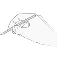 isolated hand with pencil vector image