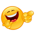 Laughing and pointing emoticon vector image
