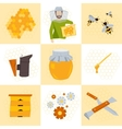 Nine icons beekeeping products vector image