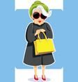 senior fashion lady holding purse vector image