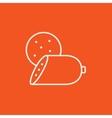 Sliced wurst line icon vector image