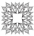 square frame with hand drawn leaves black and vector image