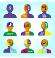 set of men head simple avatar icons with color vector image