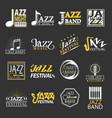 jazz festival logos set isolated on black vector image