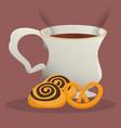 coffee cup bread dessert vector image
