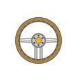 sports car steering wheel icon flat vector image