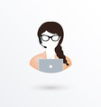 Call center operator woman with phone over white vector image