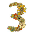 Hand Drawn Floral Number 3 vector image