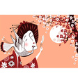 Japanese woman in traditional clothes with bird vector image