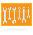 wrench collection tool isolated on orange vector image