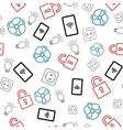 Seamless pattern with icons on white background vector image