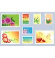 set of floral postage stamps vector image