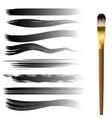 hand drawn brush strokes set vector image