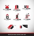 Red black real estate logo icon set vector image