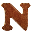 Leather textured letter N vector image vector image