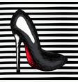 black heel shoe sketch in pop art on black striped vector image