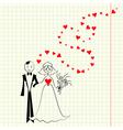 Bride and groom at the school a piece of scrap vector image