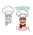 European chef in cook hat vector image
