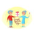 grandparents day senior couple give present vector image