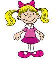 little girl in pink dress cartoon vector image
