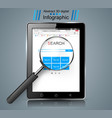 smart tablet loupe search infographic vector image