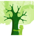 tree hug children nature love concept vector image