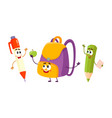 funny smiling pen pencil backpack characters vector image